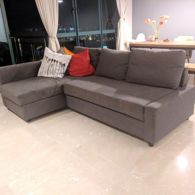 L Shaped 3 seater Sofa bed with storage IKEA grey