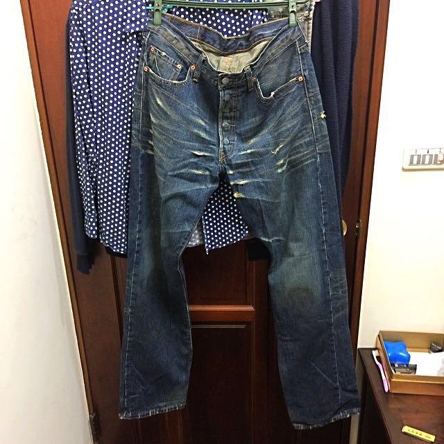 Levi's 501破壞牛仔褲 美製的