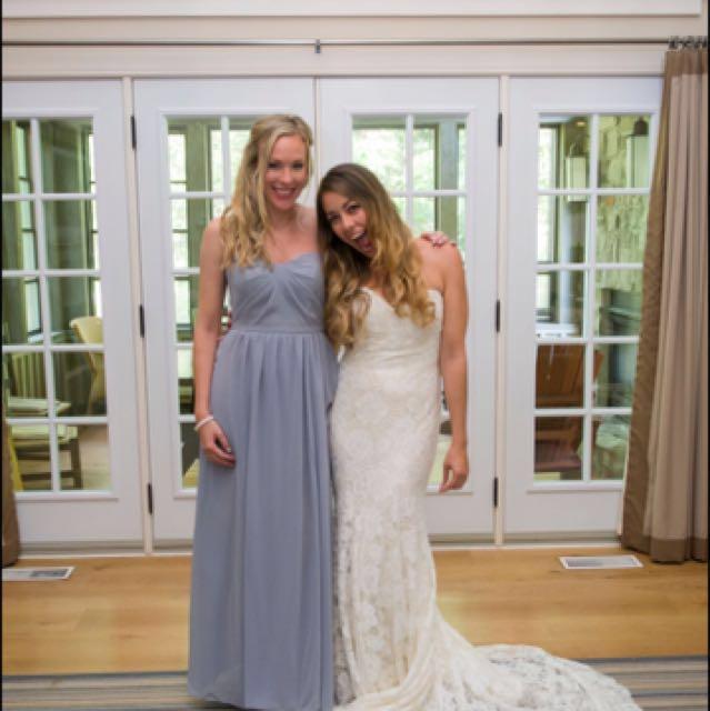 Lilac/platinum strapless chiffon gown, size 4/6