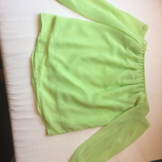Lime green strapless top