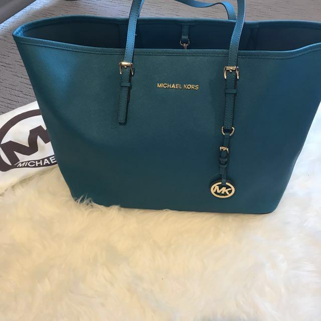 Michael Kors Teal Saffiano Jet Set Travel Handbag Tote