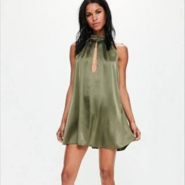 Missguided khaki Silky ruched beck swing dress