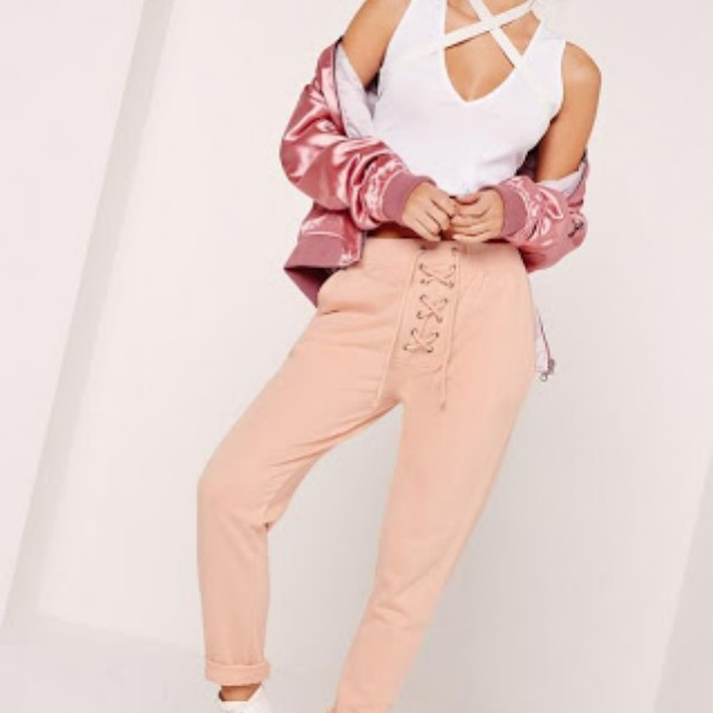 Missguided pink lace up front joggers