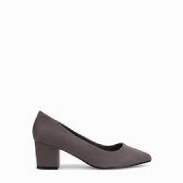 Nelly charcoal low heel pumps