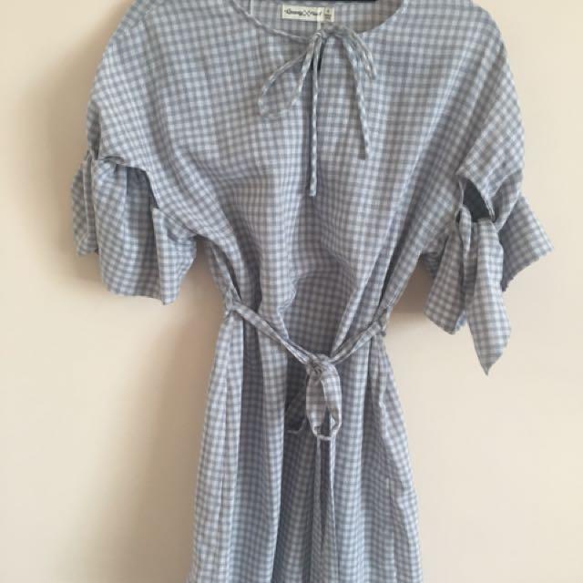 New Blue Checkered Summer Dress