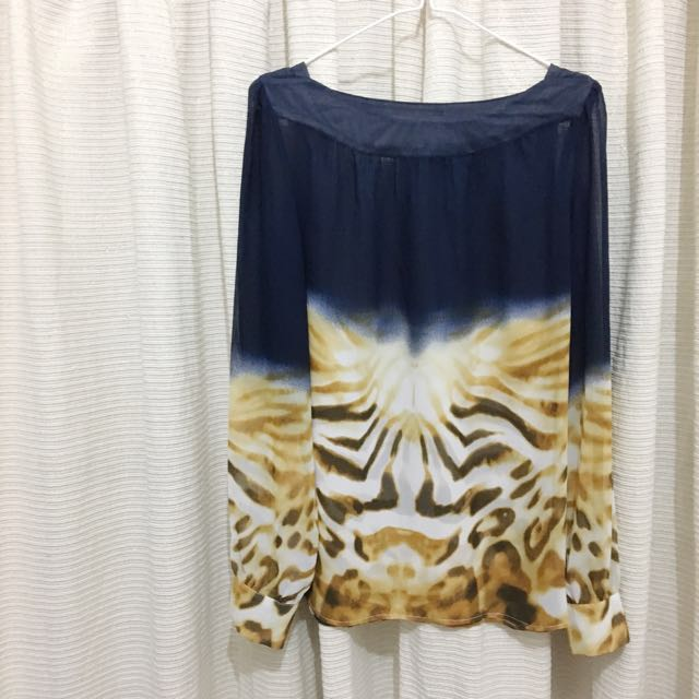 Patterned Navy Top