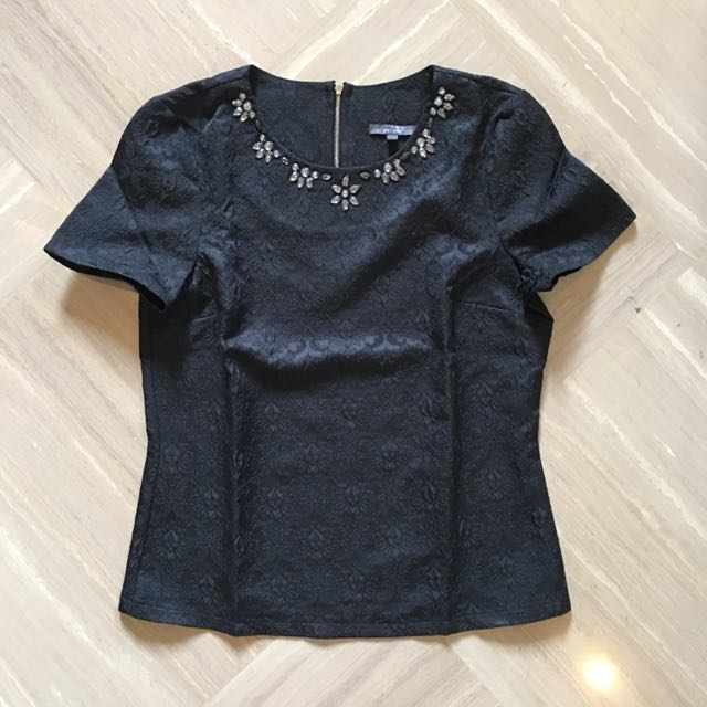 Per Una by Marks & Spencer Black Beaded Top