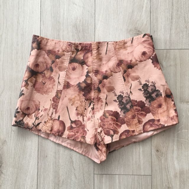 Pink Floral Faux Leather ASOS Shorts