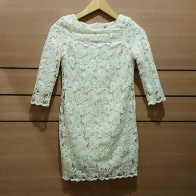 [PL] Cream Lacey Embroidery Dress