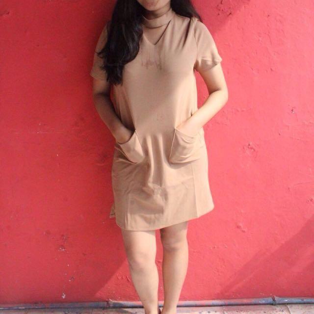 Pocket Neckband Mini Dress