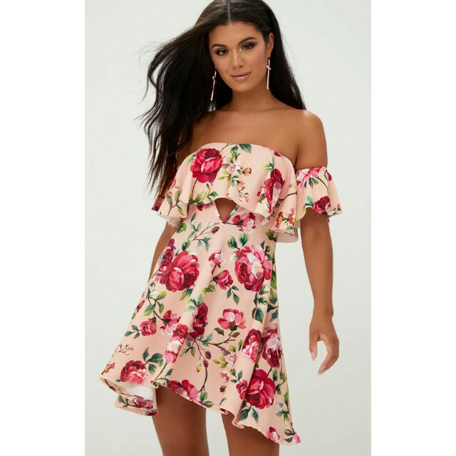 Pretty Little Things Pink Floral Bardot Cut Out Swing Dress