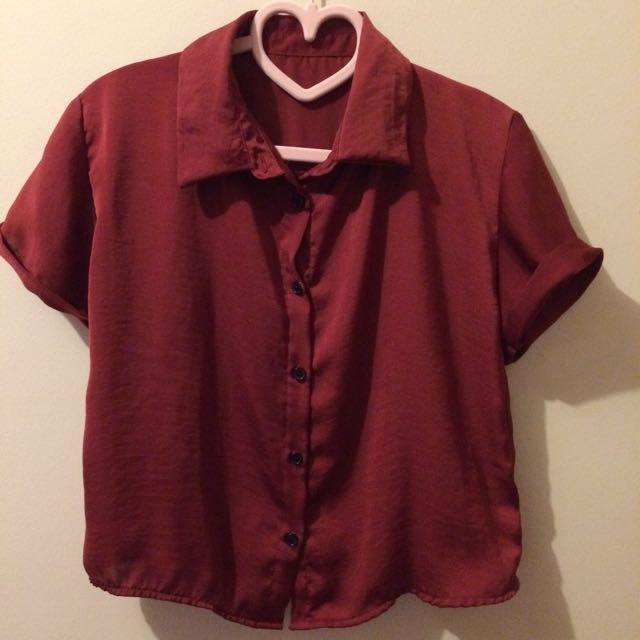 Red Blouse With Collar