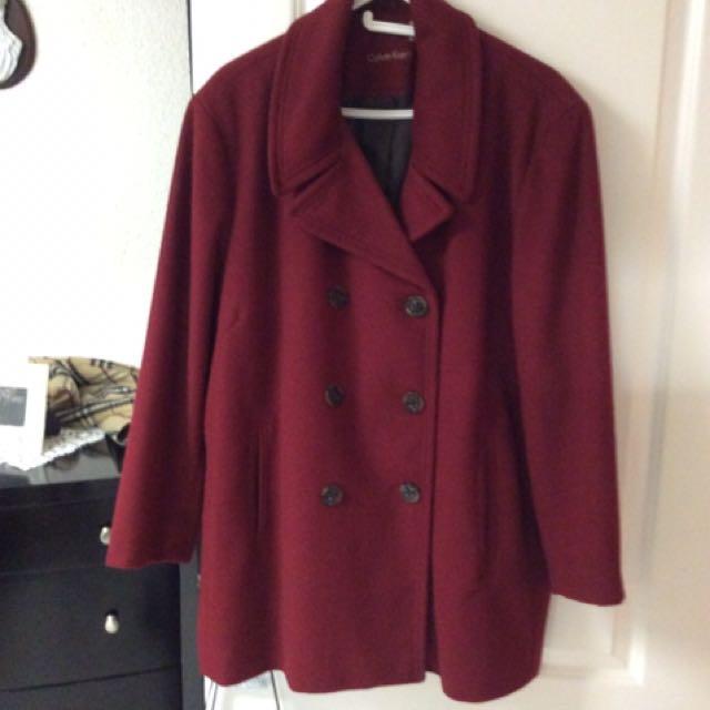 Red Calvin kelvin coat