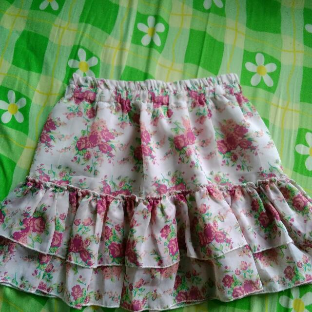 Ruffled Floral Skirt With Inner Shorts