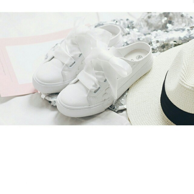 Brand New Ribbon Canvas Shoes / Slip-on / Sandals