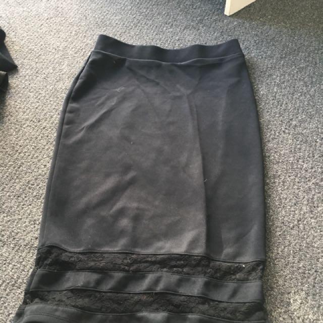 Size 10 long black skirt