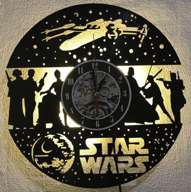 Star Wars Vinyl Record Wall Clock Lamp
