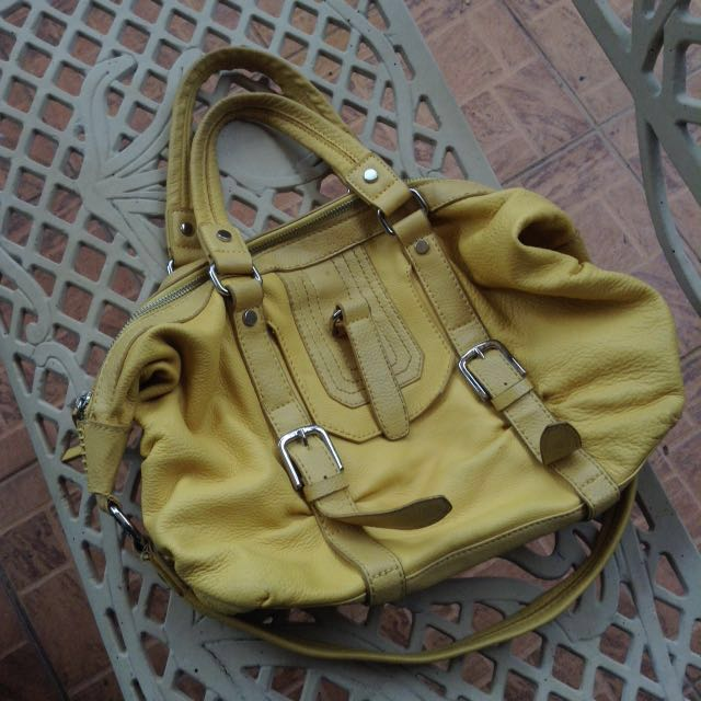The sak Genuine Leather 2 Way Handbag Yellow