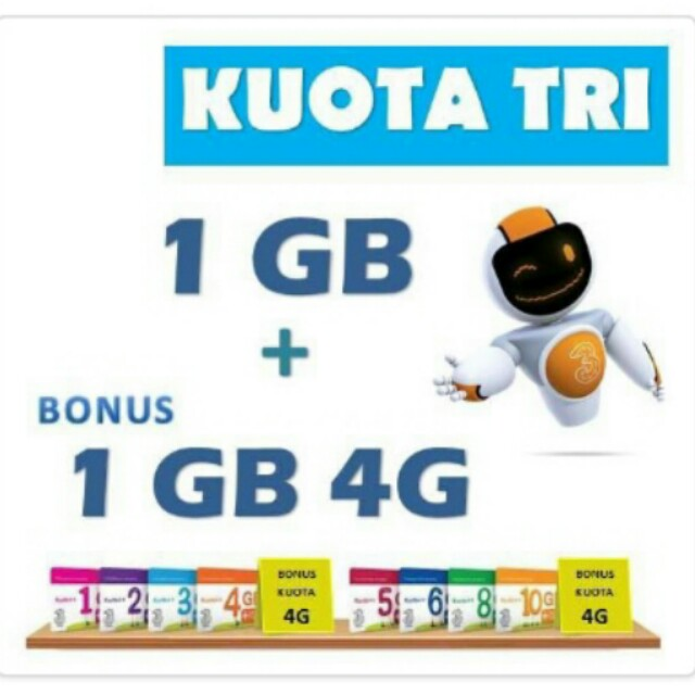 Three Kuota++ 1GB + Bonus 1GB 4G