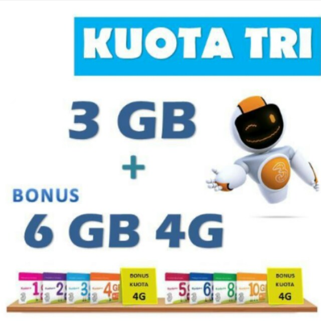 Three Kuota++ 3GB + Bonus 6GB 4G