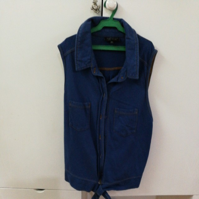 Topshop Denim cropped polo with tie