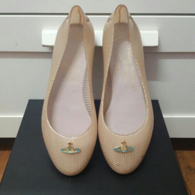 真品Vivienne Westwood粉膚色膠鞋