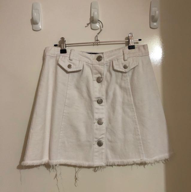 White denim mini skirt
