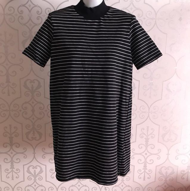 White stripes black dress