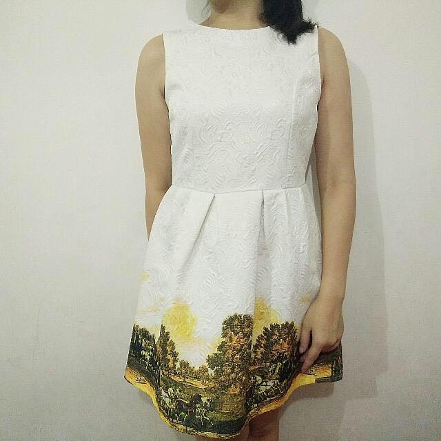 WhitexYellow Dress