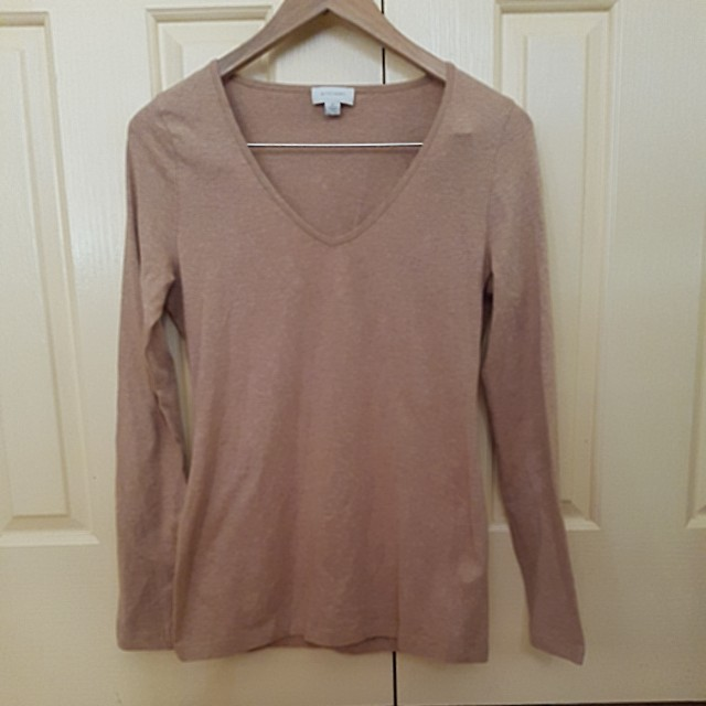 Witchery sand beige v neck long top