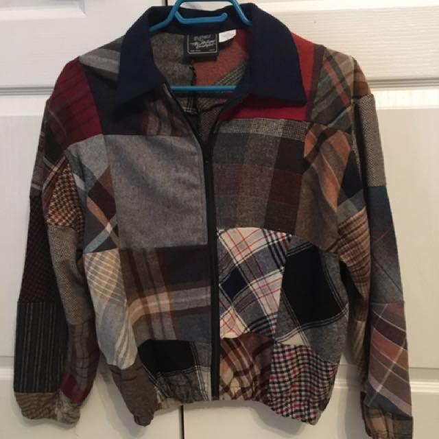 Wool blend plaid jacket