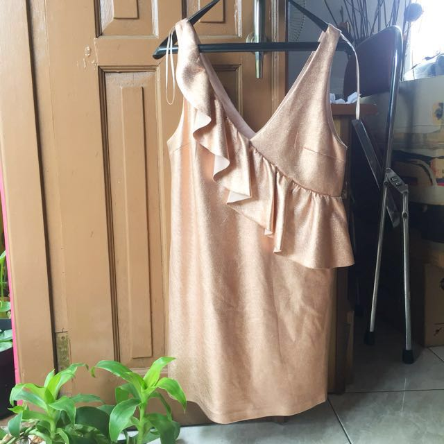 ZARA rose gold ruffle party dress NEW WITH TAG