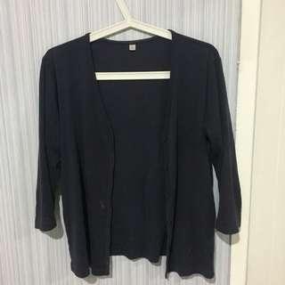 Cardigan bahan kaos biru donker No Brand