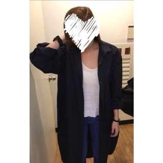 韓國東大門購入墨色超長版外搭襯衫