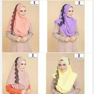 Instant shawl muslimah double loop