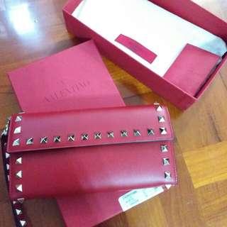 Valentino Rockstud Wallet (Rouge)
