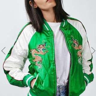 TOPSHOP緞面刺繡雙面棒球外套