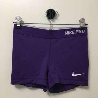 "NIKE PRO Purple 2.5"" inseam Spandex Shorts (Small)"