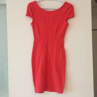 F21 coral fitted dress - size S