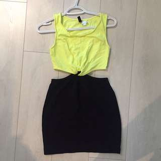 Neon cut out dress - size S