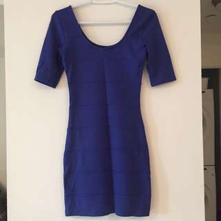 Blue bodycon dress - size S