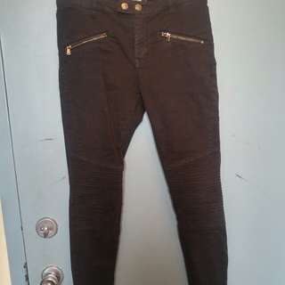 Black skinny jeans with zipper detail