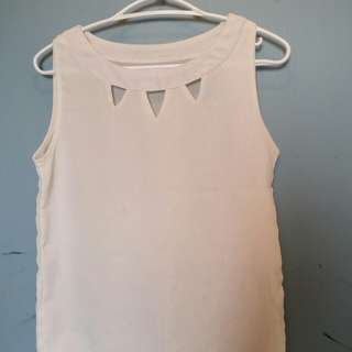 White triangle cutout top