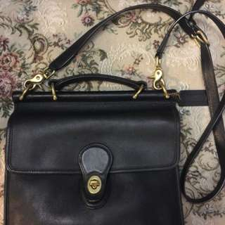 VINTAGE AUTHENTIC COACH WILLIS BLACK LEATHER BAG WITH CROSSBODY