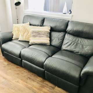 Grey Leather Reclining Couch