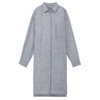 MUJI French Linen Stripe Shirt Dress