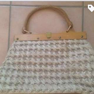 Beautiful Vintage Woven Straw Bag. Made in Japan. Excellent Condition.