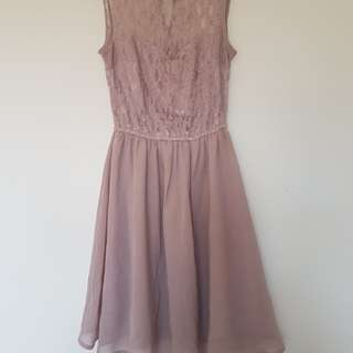 Blush pink sweetheart lace dress