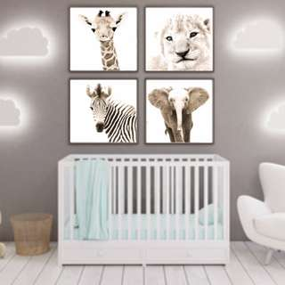 "Nursery Art - Baby Animals Prints - Set of 4 - 8 x 8"" - Animal Pictures Wall Art"