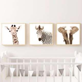 "Nursery Art - Baby Animals Prints - Set of 3 - 8 x 8"" - Animal Pictures Wall Art"